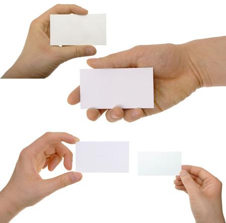 Set von Hand halten eine leere Visitenkarte Standard-Bild - 23435578