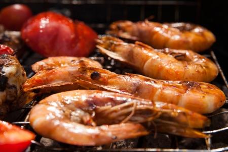 bbq grill: Grilled prawns