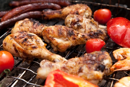 detailed view: Detailed view of grilled chicken