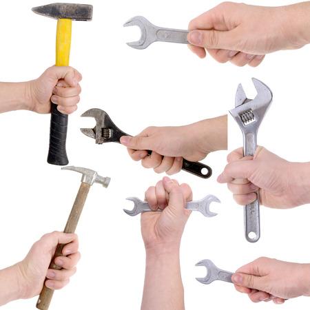 Viele Hände, die verschiedenen Tools für die Arbeit und alles repariert Standard-Bild - 23739716