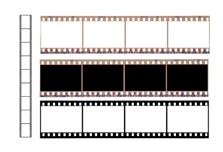 Isolated 36 mm filmstrip  on a white background Фото со стока