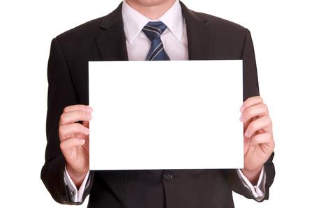 Geschäftsmann mit leeren Zeichen Standard-Bild - 23770804
