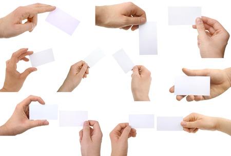 Hände, die Visitenkarten Standard-Bild - 27695901