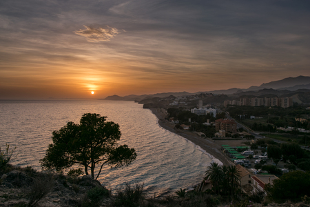 beaches of spain: Sunset on one of the many scenic beaches on Costa Blanca, Spain