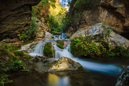 cascade: The Cascades dAkchour in Morocco near Chefchaouen. They are on the way up to the big waterfall. The Cascades dAkchour are a 45minute drive from Chefchaouen in the Talassemtane National Park.