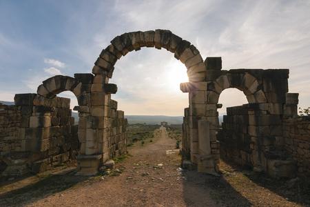 volubilis: Tingis Gate, Volubilis, Morocco Stock Photo