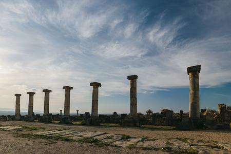 volubilis: Volubilis seven columns, Morocco Stock Photo