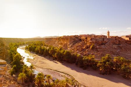 Trit město poblíž Tata, Oued Tissint, Maroko Reklamní fotografie