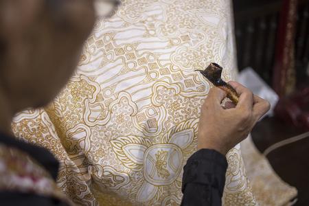 Painting Batik - Peinture traditionnelle javanaise sur tissu, Yogyakarta Banque d'images