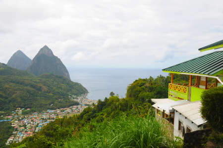 st lucia: Piton Mountains in St  Lucia Island