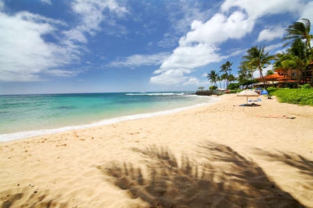 the blue clear waters of the Pacific and the blue sky, clean sand, waves and piece in Kauai