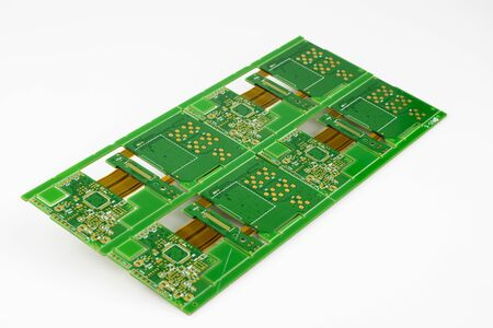 Multiplied printed circuit boards PCB isolated on the white background. PCB assembly.