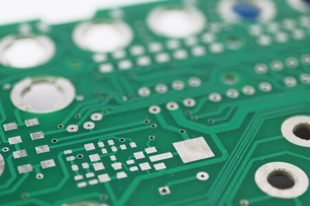 Multiplied printed circuit boards PCB isolated on the white background. PCB assembly. Close-up view