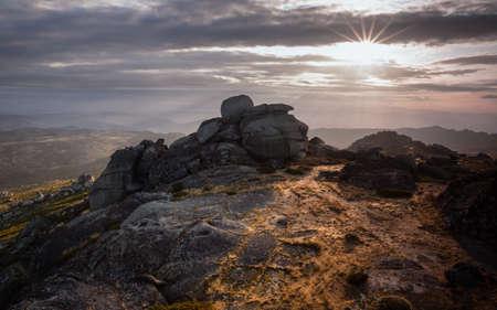 Mountain landscape illuminated by the first rays of sun, Serra da Estrela Natural Park. Stock fotó