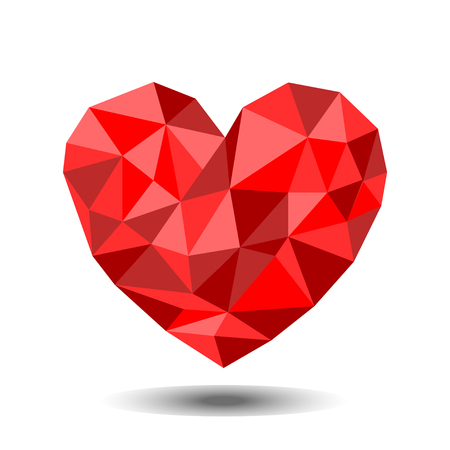 Red heart low polygonal