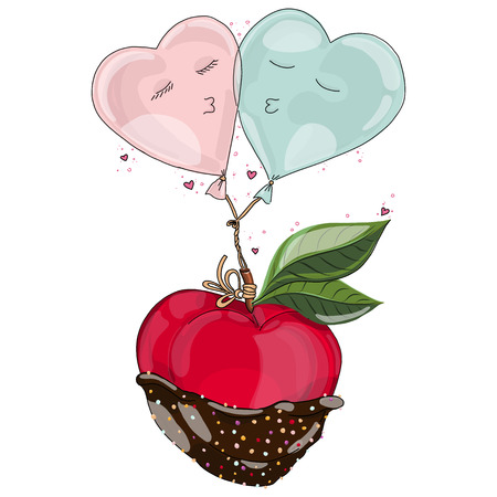 Apple in chocolate with balloon in love. Hand drawn illustration from Fruit Love & Sweet collection. White background.