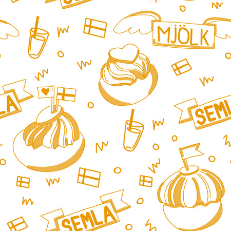 Seamless pattern with Semla on the white background. Semla - traditional swedish bun with cream and marzipan. Eats with milk. Fat Tuesday (fettisdagen) in February.