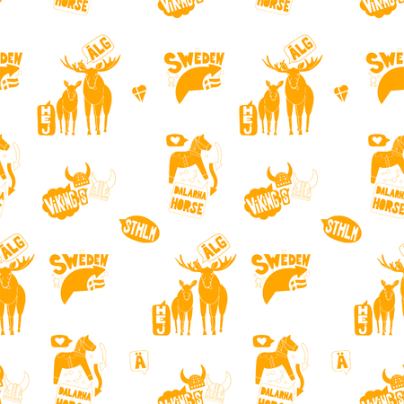 Seamless pattern with Stockholm's elements on white background. Good for souvenirs from Sweden - typical swedish words. Hand drawn doodle. Stock Vector - 94476833