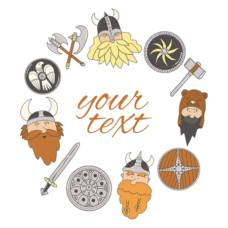 Vikings frame. Cute and funny Scandinavian warriors on the white background.