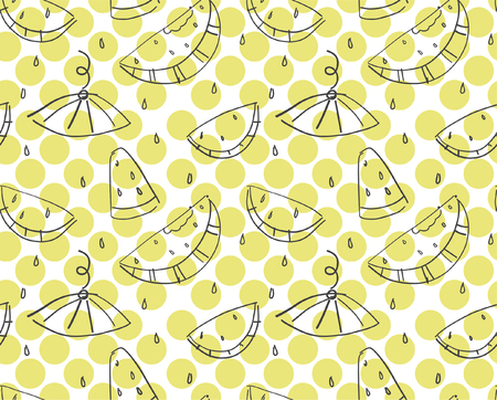 Seamless pattern with watermelons in doodle style. Lime dots as the background. Summer fruit on the white background. Ilustração