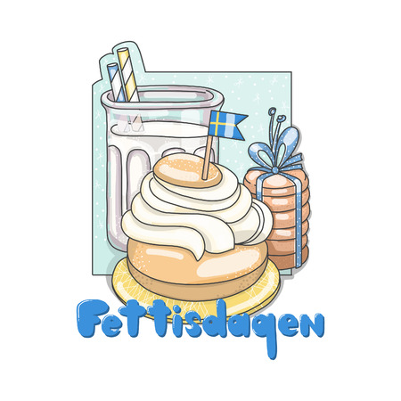 Semla traditional Swedish bun with cream and marzipan. Illustration
