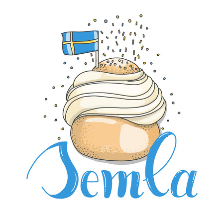Semla - traditional Swedish bun with cream and marzipan. Eats with milk. Fat Tuesday (fettisdagen) in February.