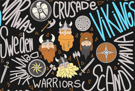 Seamless pattern with vikings. Cute and funny scandinavian warriors on the dark background and text. Illustration