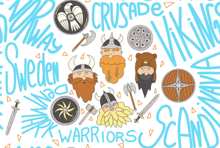 Vikings seamless pattern. Cute and funny Scandinavian warriors on the white background and text.
