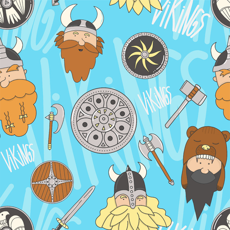 Vikings seamless pattern. Cute and funny Scandinavian warriors on the marine color background.