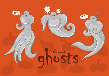 Three isolated ghosts on an orange background, Halloween theme. 向量圖像