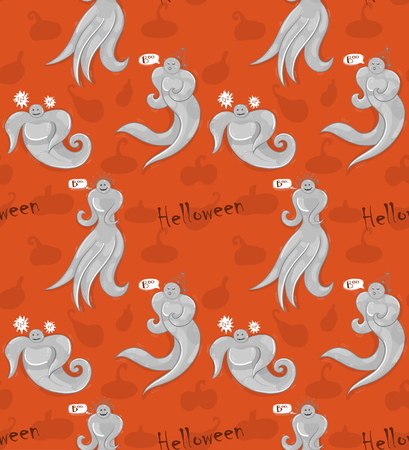 Cute ghosts seamless patter on orange background, Halloween theme.