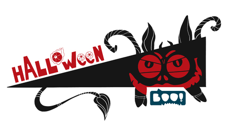 Halloween icon with special text. Devil theme. Devils eyes and BOO Illustration