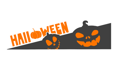 Halloween icon with special text, pumpkin theme evil pumpkins. Illustration
