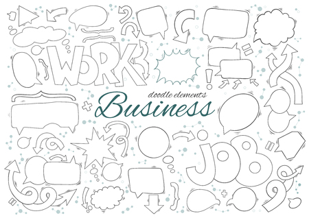 Business set of speech and thought bubbles elements. Arrows, text and additional elements include hand drawn doodle.
