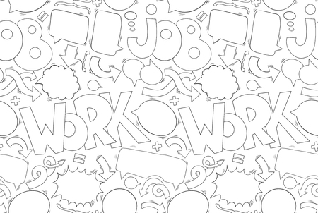 Business speech and thought bubbles, arrows, texts and additional elements seamless pattern. Illustration with hand drawn doodle graphite elements on the white background. Illustration