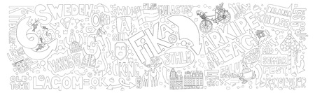 Stockholm in hand drawn doodle. Horizontal background with graphite elements.Good for souvenirs from Sweden - typical swedish words (Sweden, liquorice, sweets, Vikings, horse from Dalarna).