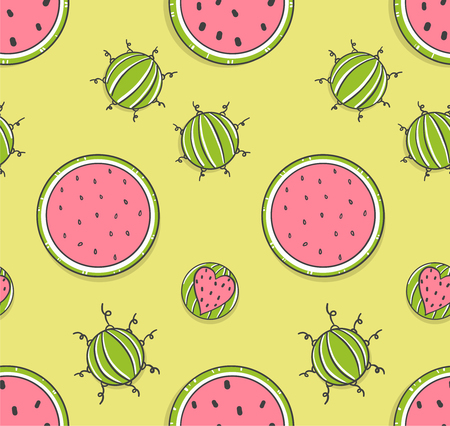 Seamless pattern with funny watermelons in doodle style. Summer fruit on the lime background.  Vettoriali