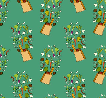 Seamless pattern with papper package full of vegetables. Hand drawn doodle illustration on green background.