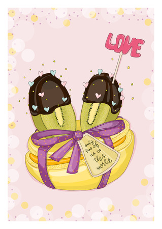 Postcard kiwi fruikt with macaron. Hand drawn postcard from Fruit Love & Sweet collection.