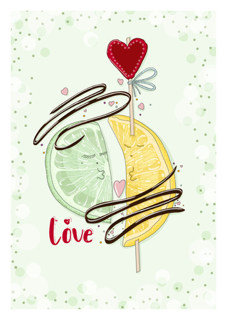 Postcard lemon and lime with chocolate in love. Hand drawn postcard from Fruit Love & Sweet collection.