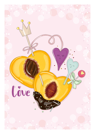 Postcard in love with hearts. Hand drawn postcard from Fruit Love & Sweet collection.