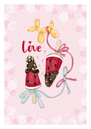 Postcard watermelon slices in chocolate with balloon. Hand drawn illustration from Fruit Love & Sweet collection.