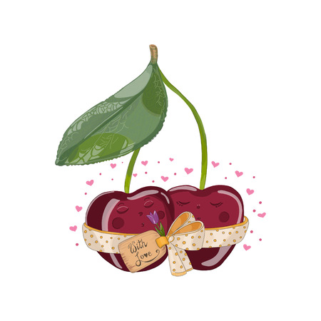 Cherries with a flower in love. Hand drawn illustration from fruit love and sweet collection white background.