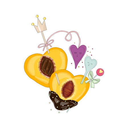 Peach in chocolate with hearts in love. Hand drawn illustration from fruit love and sweet collection white background.