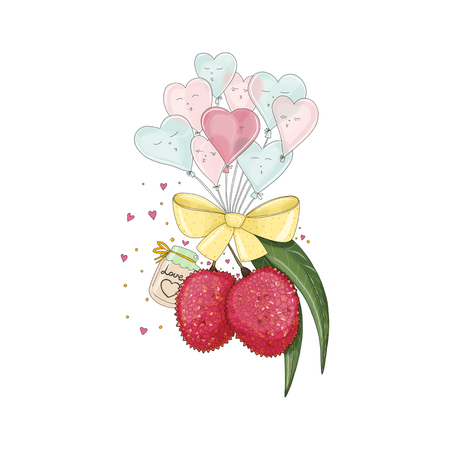 Lychee in love with heart shape balloons. Hand drawn illustration from fruit love and sweet collection on white background. Illustration