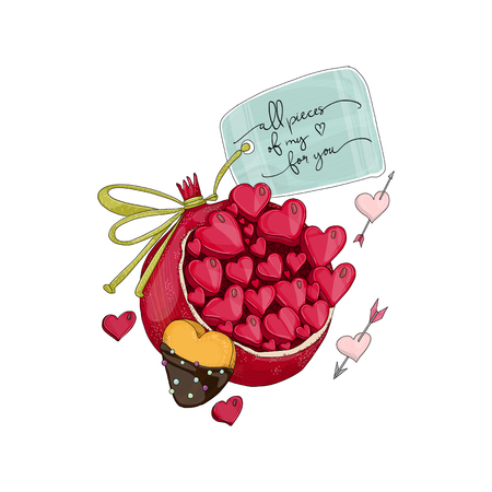 Pomegranate with heart shape cookie. Hand drawn illustration from fruit love and sweet collection on white background.