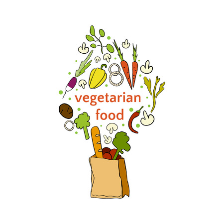 Vegetarian food icon hand drawn illustration on white background.
