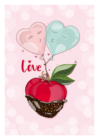 Postcard apple in chocolate with balloon in love. Hand drawn postcard from fruit love and sweet collection.
