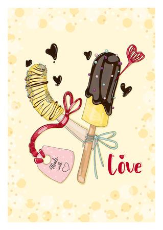 Ansichtkaart bananen in chocolade met tag in liefde. Handgetekende ansichtkaart uit de collectie 'fruitliefde en zoet'. Stock Illustratie