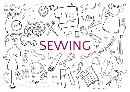 Be creative in sewing. Doodle hand drawn black elements on white background.